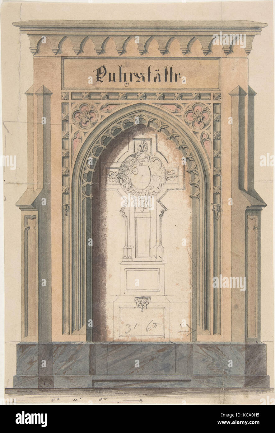 Design For Gothic Archway And Cross Anonymous German 19th Century