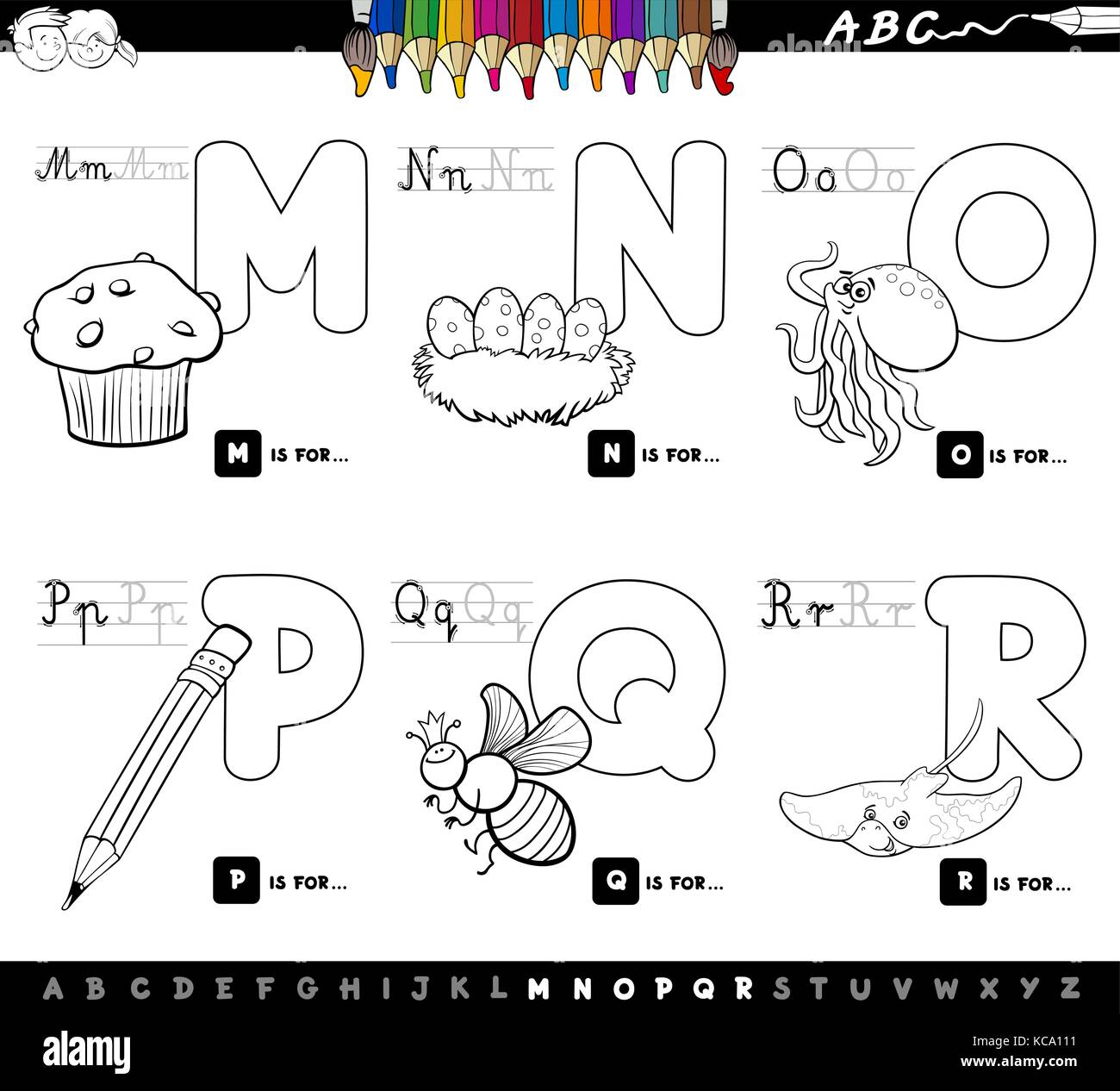 Black And White Cartoon Illustration Of Capital Letters Alphabet Educational Set For Reading Writing Learning Children From M To R Coloring Bo