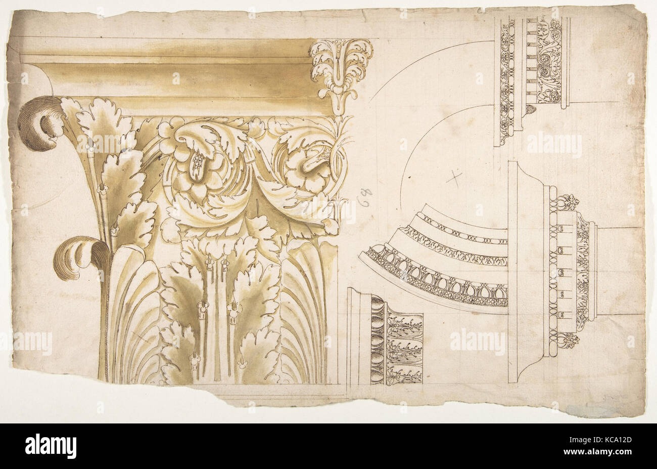 Arch of Septimius Severus, pilaster capital, elevation; impost and arch elevation; detail (recto) blank (verso Stock Photo