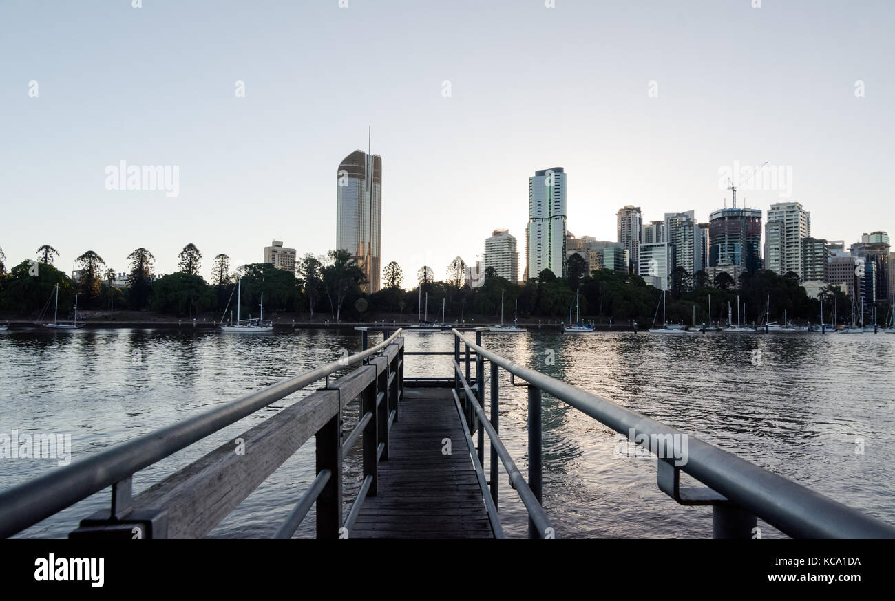 Brisbane cityscape taken from a pier in Kangaroo point - Stock Image