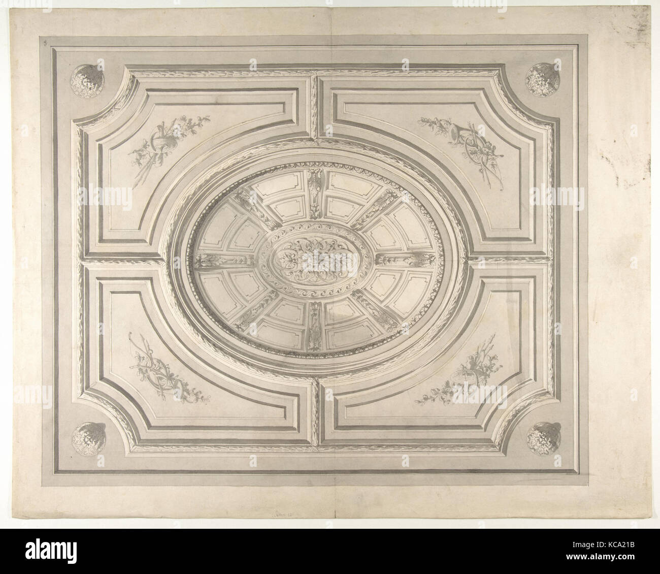 Design for a ceiling with trophies and a trompe l'oeil coffers, Jules-Edmond-Charles Lachaise, 1830–97 - Stock Image