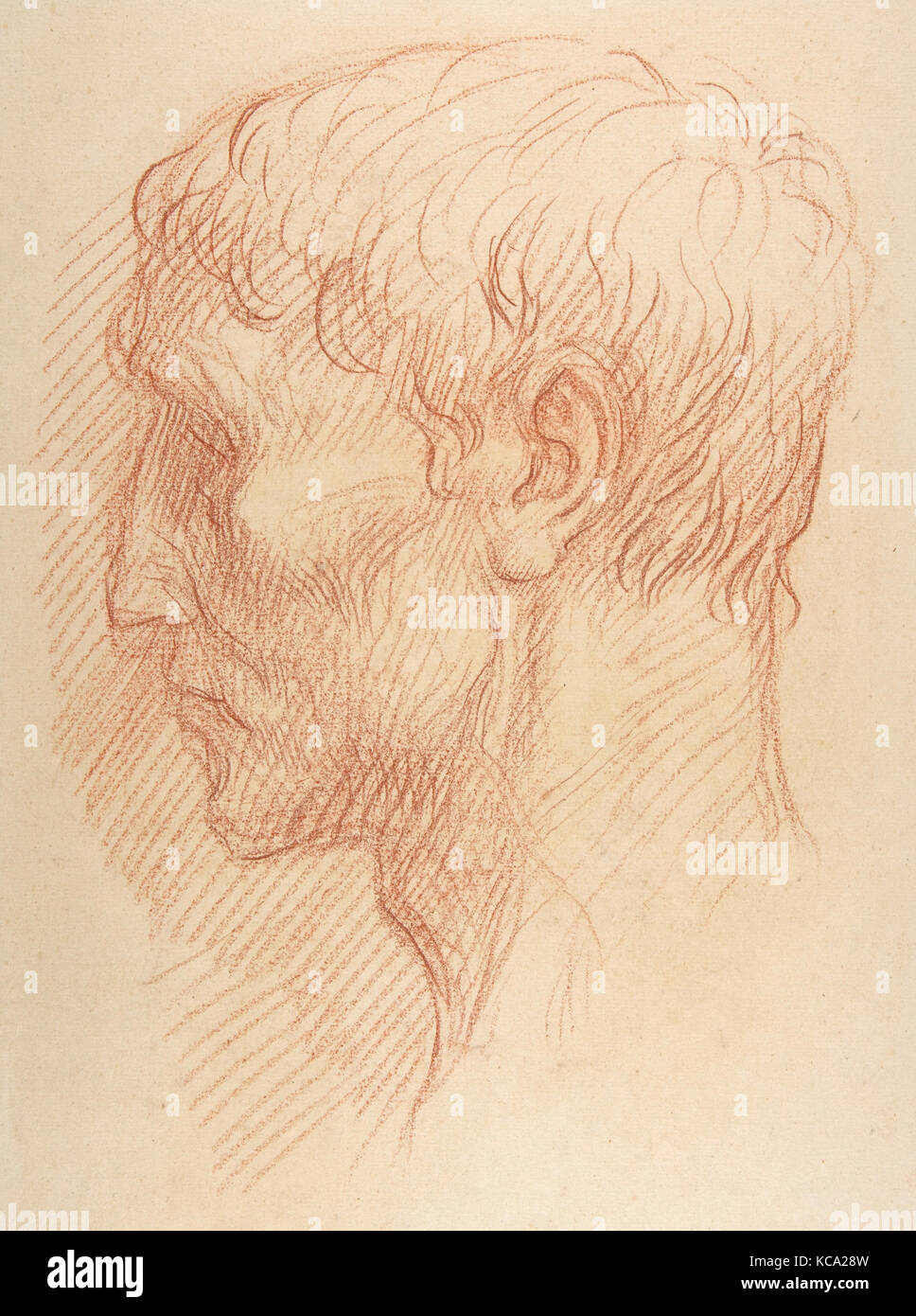 Head of a Quarryman, 1837–1911, Red chalk, 18 3/4 x 13 3/8 in. (47.6 x 34 cm), Drawings, Alphonse Legros (French, - Stock Image