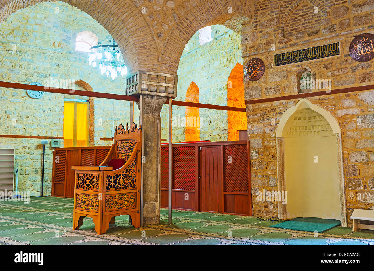ANTALYA, TURKEY - MAY 12, 2017: The Alaaddin Mosque, also known as Yivliminare or Ulu Cami (Grand Mosque), is decorated - Stock Image