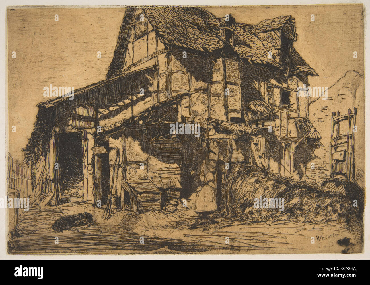 The Unsafe Tenement (The Old Farm), James McNeill Whistler, 1858 - Stock Image