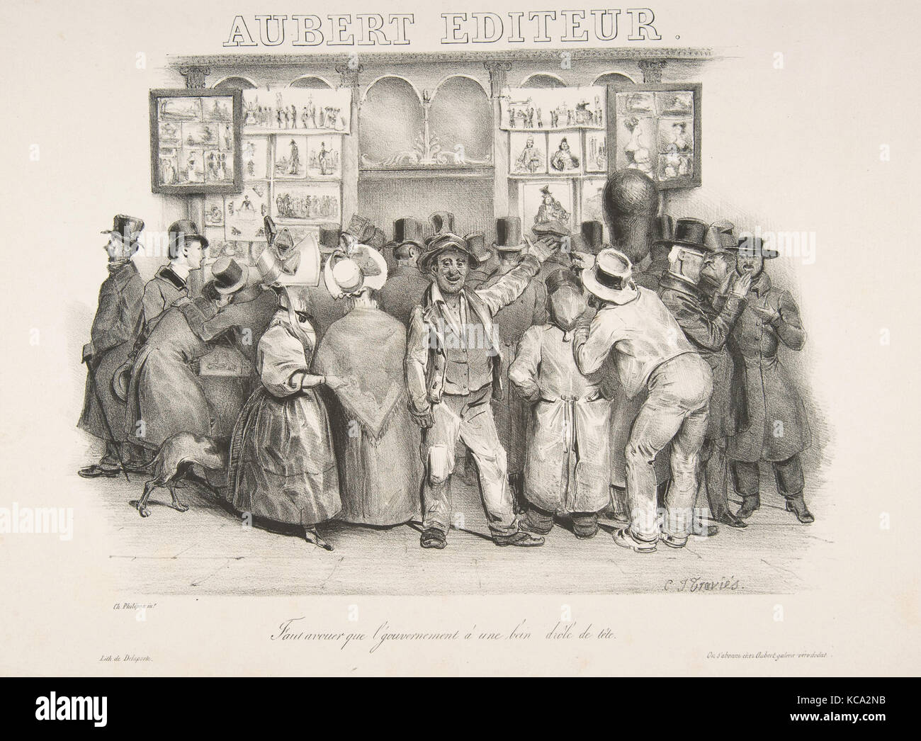 The Publisher Aubert (You must admit the government has a comic appearance), Charles-Joseph Traviès, 1831 Stock Photo
