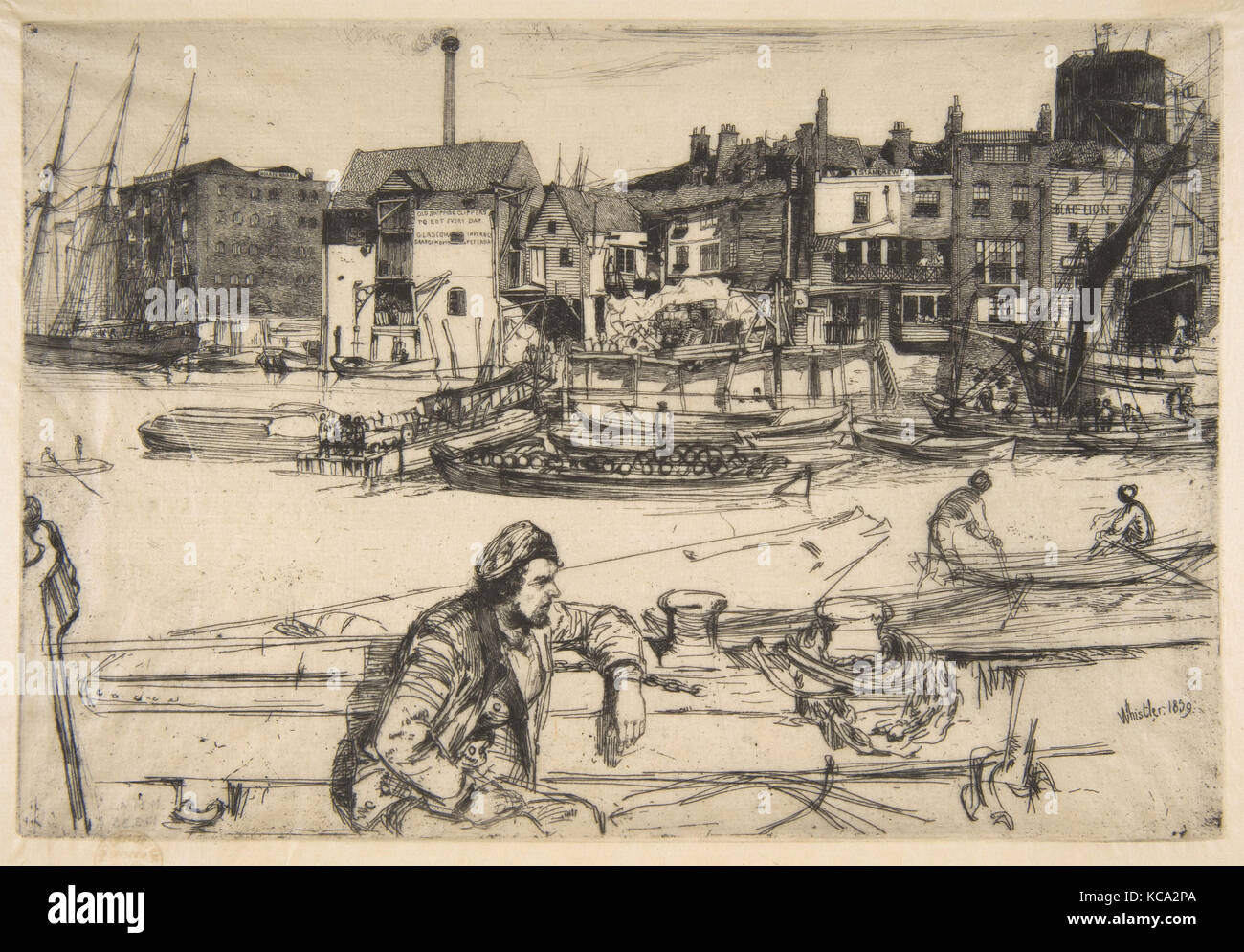 Black Lion Wharf, 1859, Etching, Plate: 5 7/8 × 8 11/16 in. (15 × 22.1 cm), Prints, James McNeill Whistler - Stock Image
