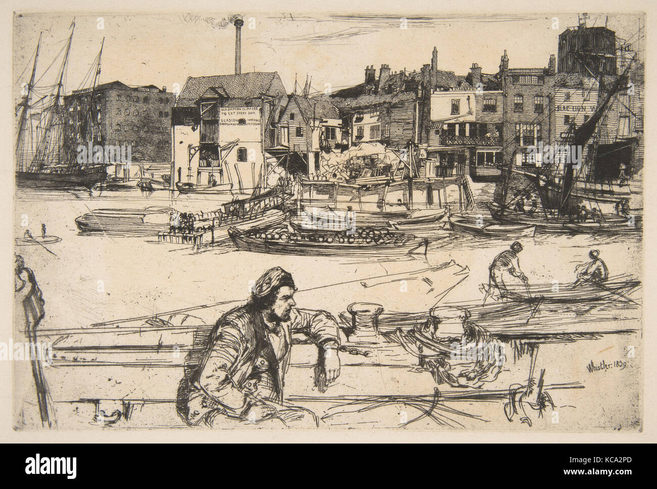 Black Lion Wharf, 1859, Etching; fourth state of four (Glasgow), Sheet: 11 7/16 × 16 1/8 in. (29 × 41 - Stock Image