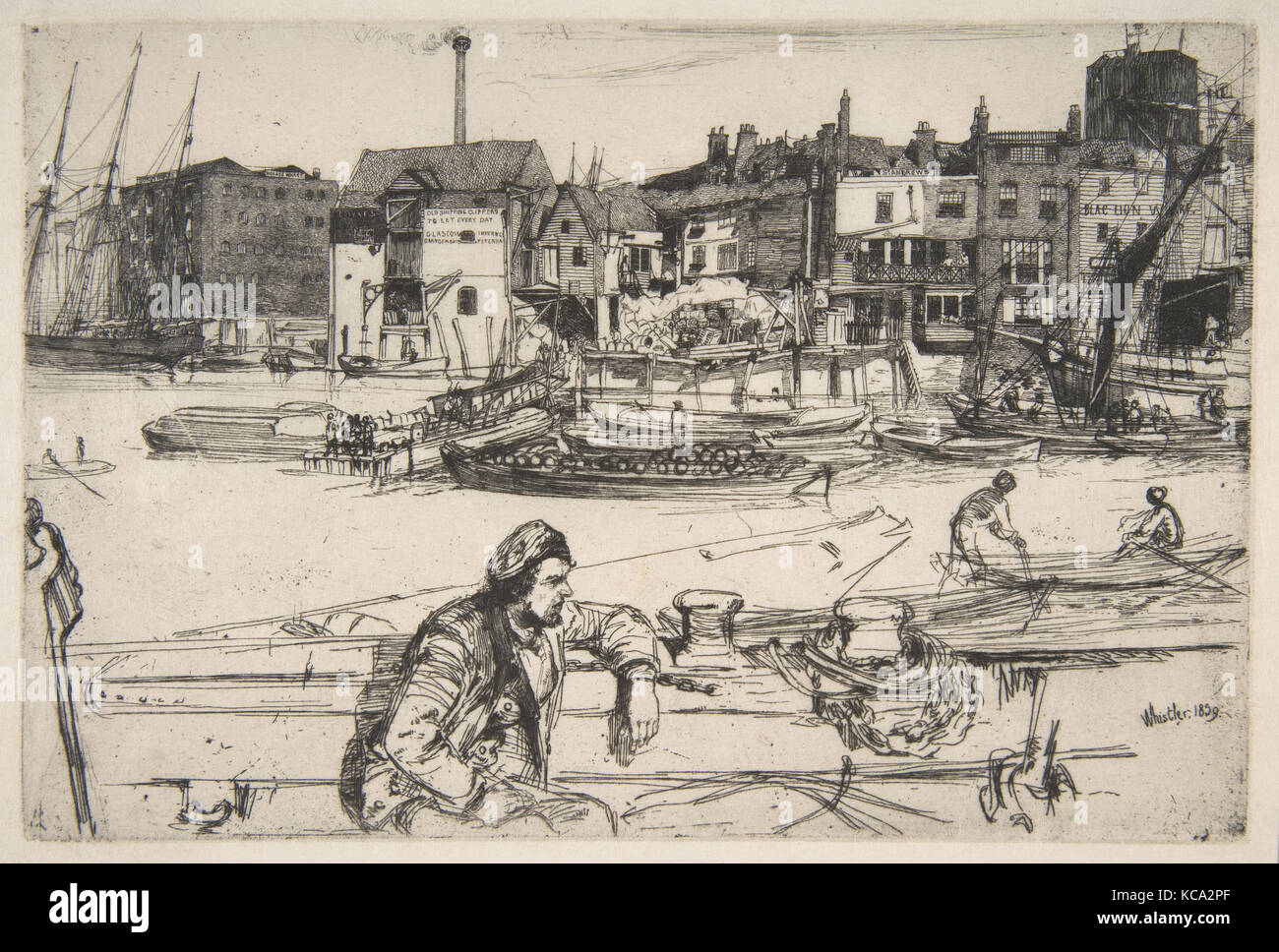 Black Lion Wharf, 1859, Etching; fourth state of four (Glasgow), printed in black ink on fine off-white laid Japan - Stock Image
