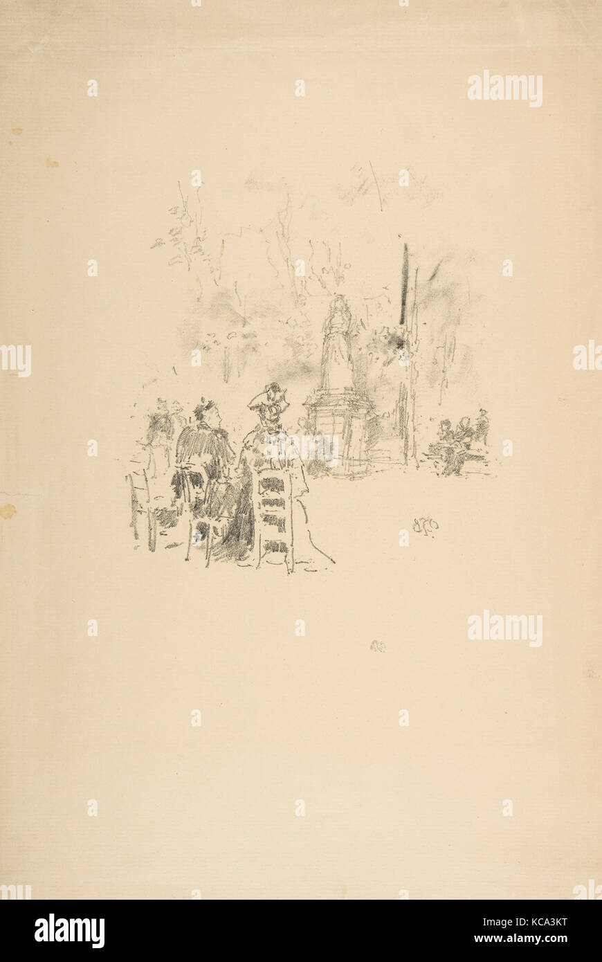 Conversations under the Statue, Luxembourg Gardens, James McNeill Whistler, 1893 - Stock Image