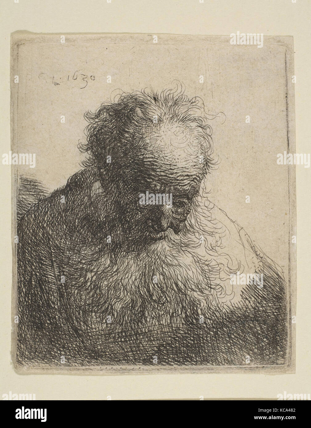 Bust of an Old Man with a Flowing Beard: the Head Bowed Forward: Left Shoulder Unshaded, Rembrandt, 1630 - Stock Image