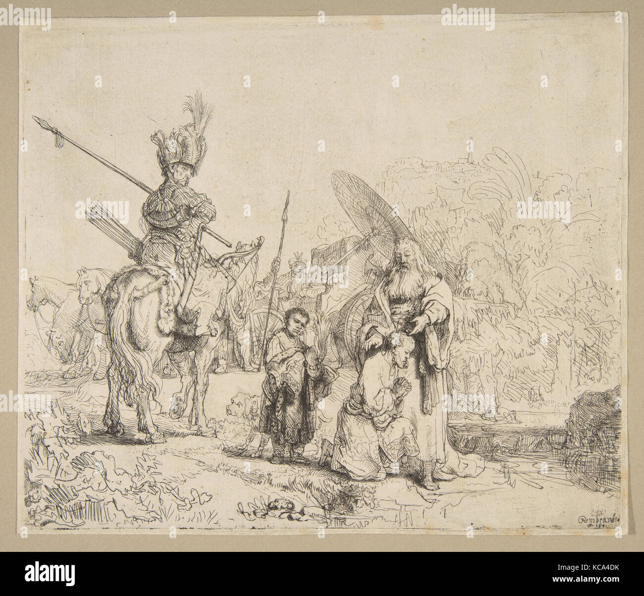 The Baptism of The Eunuch, 1641, Etching, touches of gray wash; second state of two, Prints, Rembrandt (Rembrandt Stock Photo