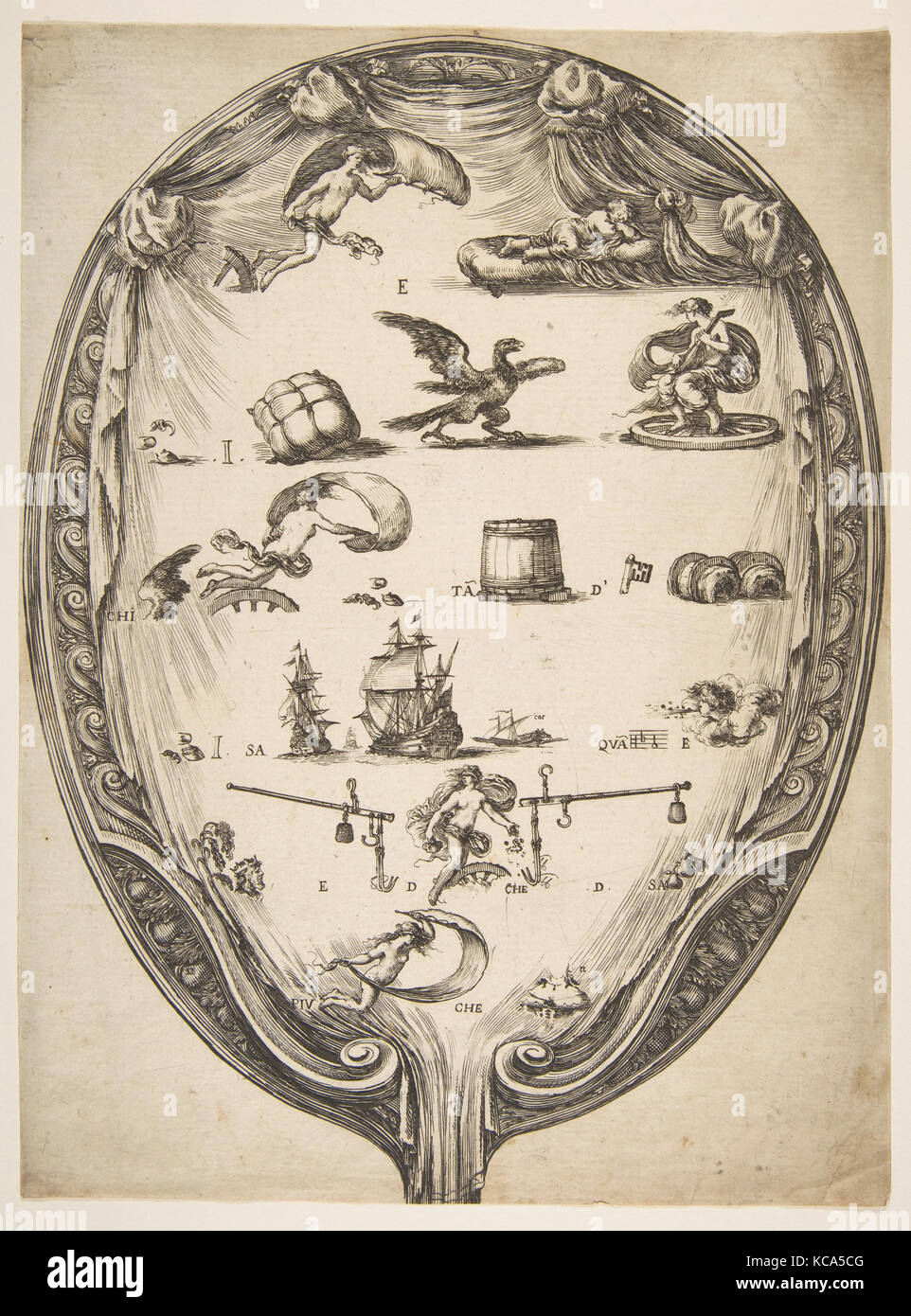 Screen with Rebus of Fortune, Etched by Stefano della Bella, ca. 1639 - Stock Image