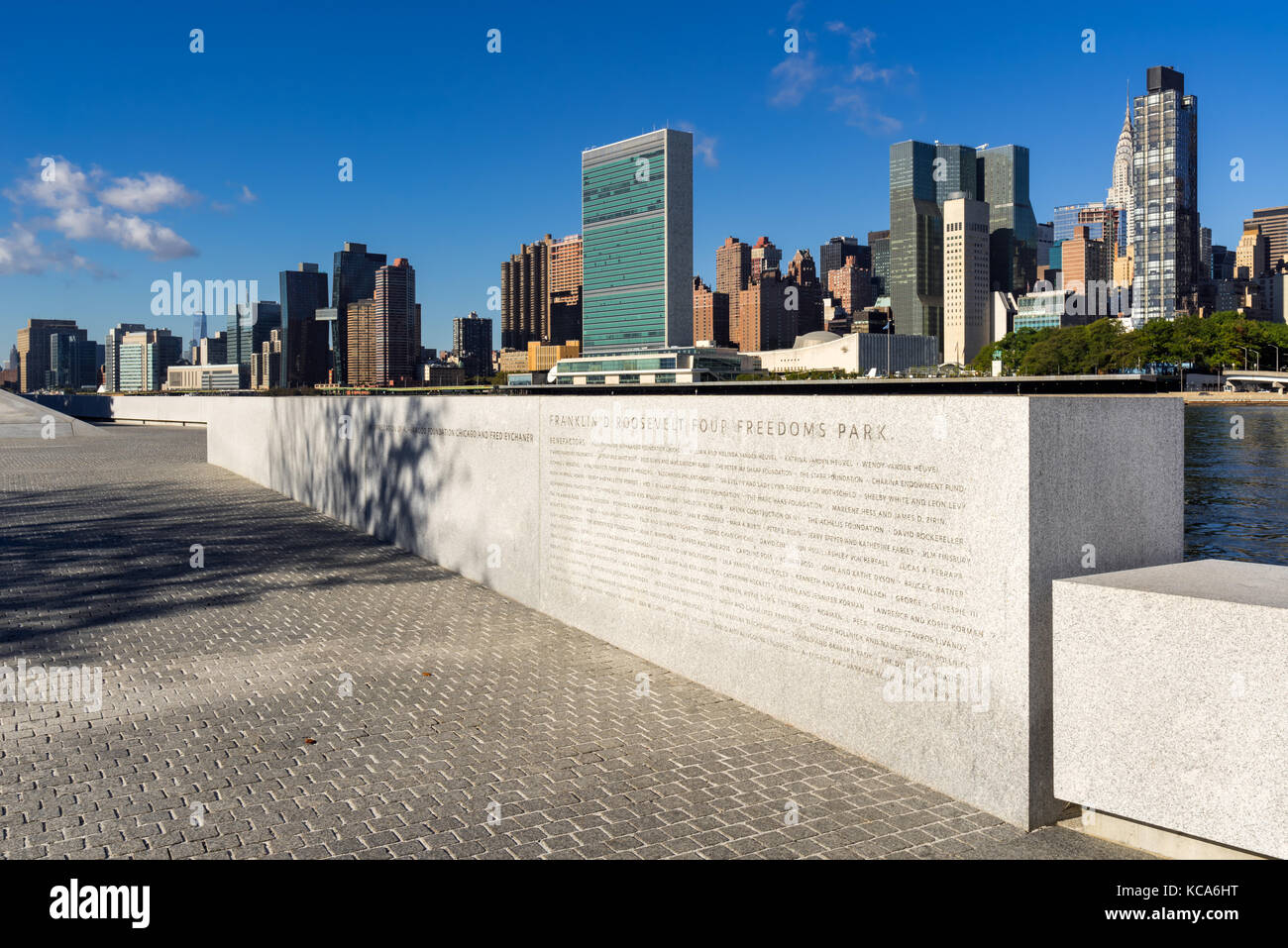 Manhattan Midtown East from Roosevelt Island (Franklin D. Rosevelt Four Freedoms Park). New York City - Stock Image