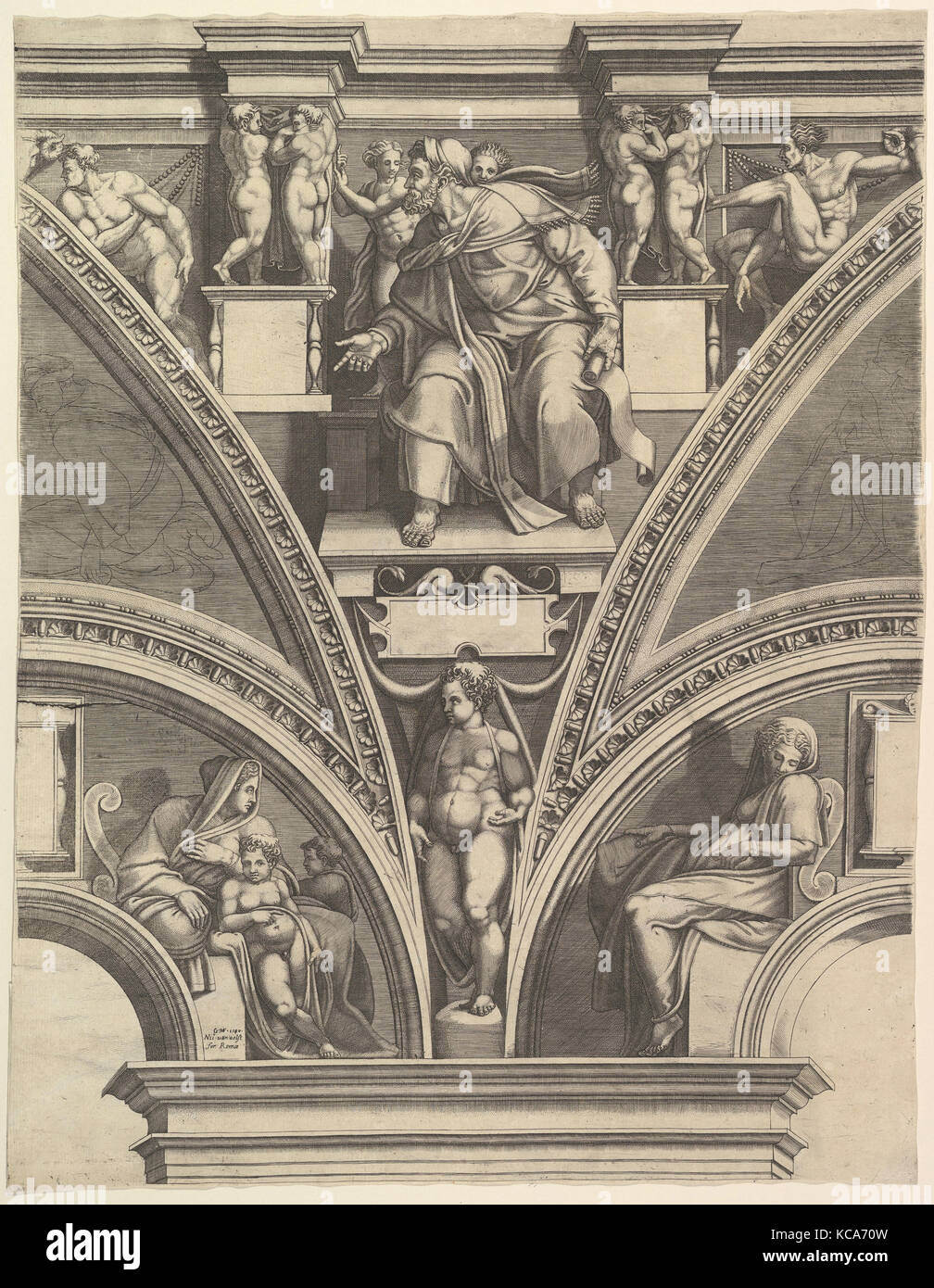 The Prophet Ezekiel; from the series of Prophets and Sibyls in the Sistine Chapel, Giorgio Ghisi, 1570–75 - Stock Image