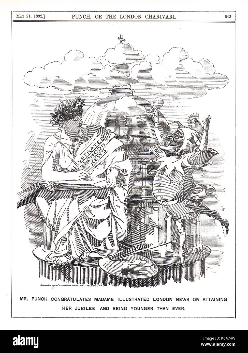 Illustrated London News Jubilee 1842-92. Mr Punch congratulating Madame Illustrated London News on 50 years in print - Stock Image