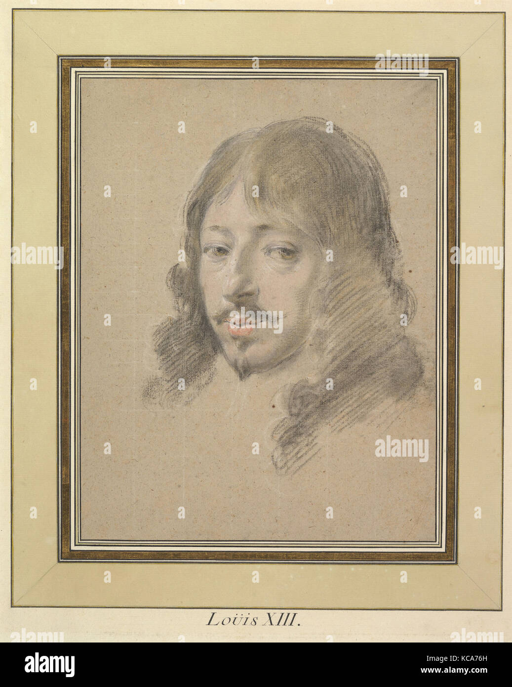 Portrait of louis xiii ca 1632 35 black and white chalk with touches of pastel on light brown paper sheet 10 3 4 x 8 5 16