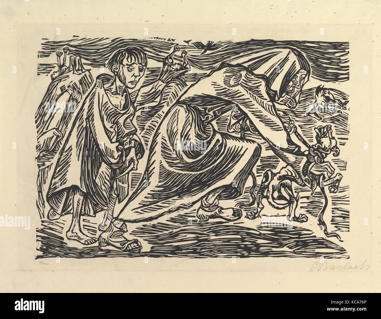 Dog Chasers (Hundefängerin), 1919, Woodcut, block: 10 x 14 3/16 inches (25.4 x 36 cm), Prints, Ernst Barlach - Stock Image