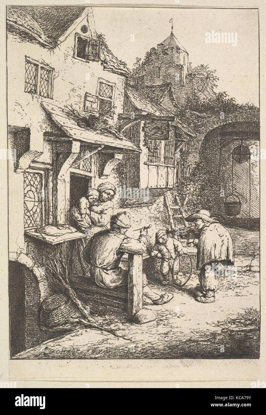 The Humpbacked Violinist, Adriaen van Ostade, 1610–85 - Stock Image