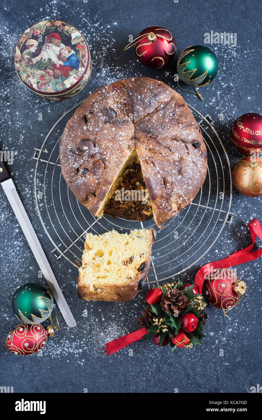 Panettone. Italian type of sweet bread loaf. Christmas food - Stock Image