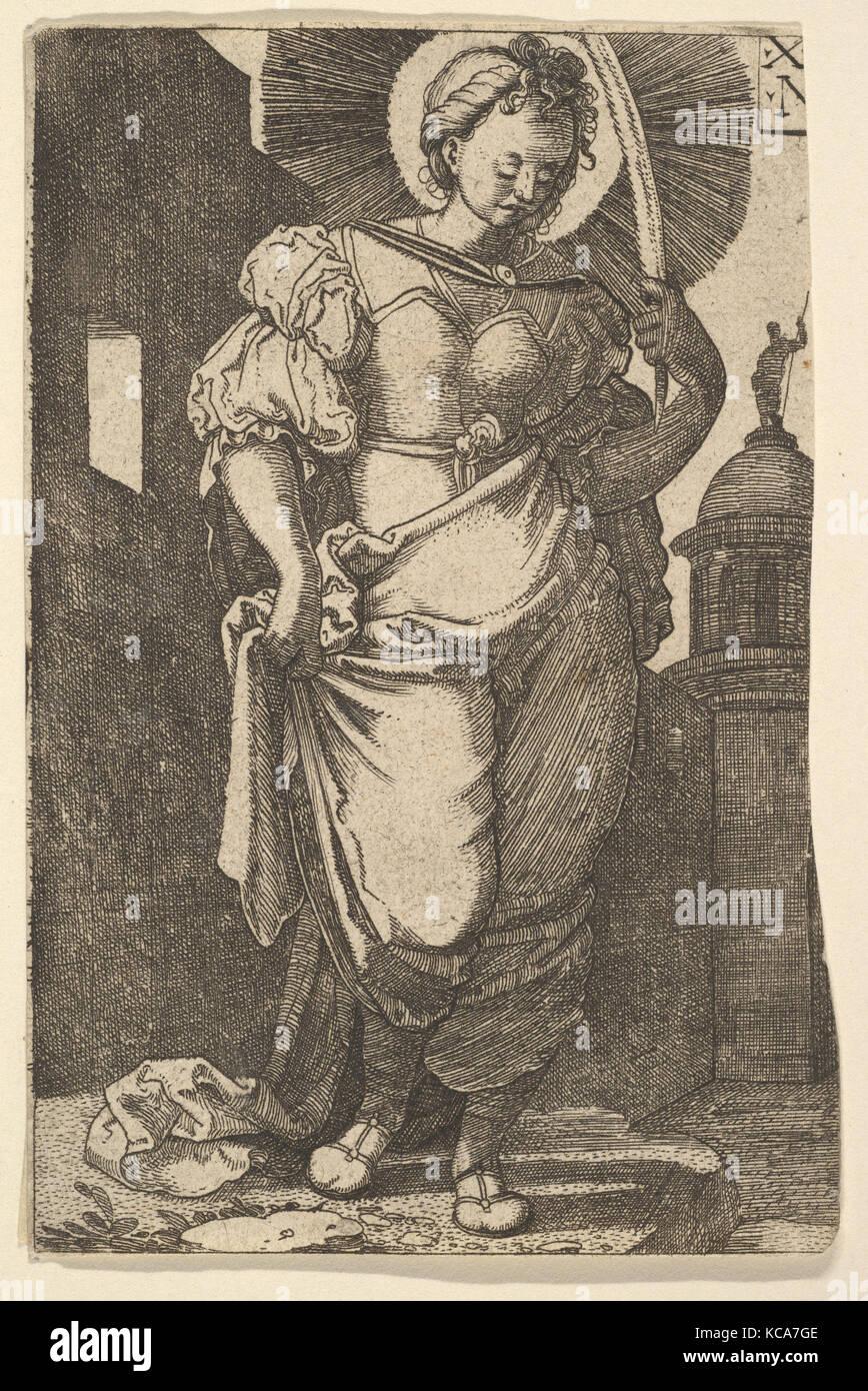 St. Barbara, 1525, Etching, sheet: 4 5/8 x 3 1/16 in. (11.8 x 7.8 cm), Prints, Nikolaus Hogenberg (Netherlandish, - Stock Image