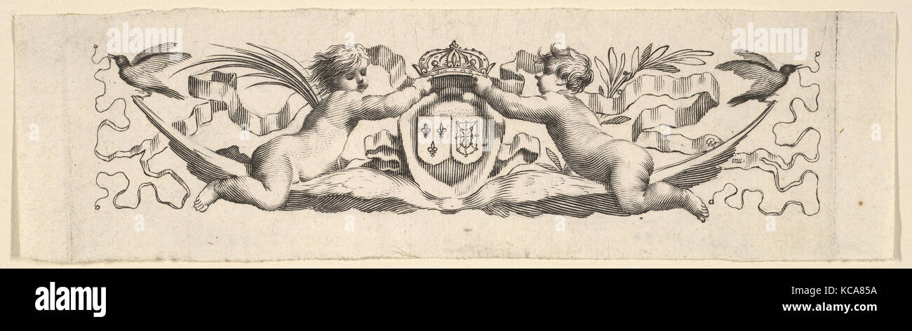 Headband: Two Infants with the Arms of France and Navarre, Claude Mellan - Stock Image