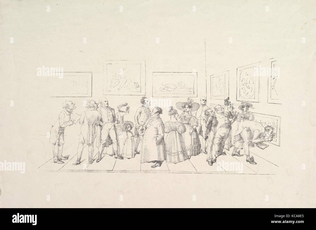 The Public at an Exhibition, Johann Gottfried Schadow, 1831 Stock Photo