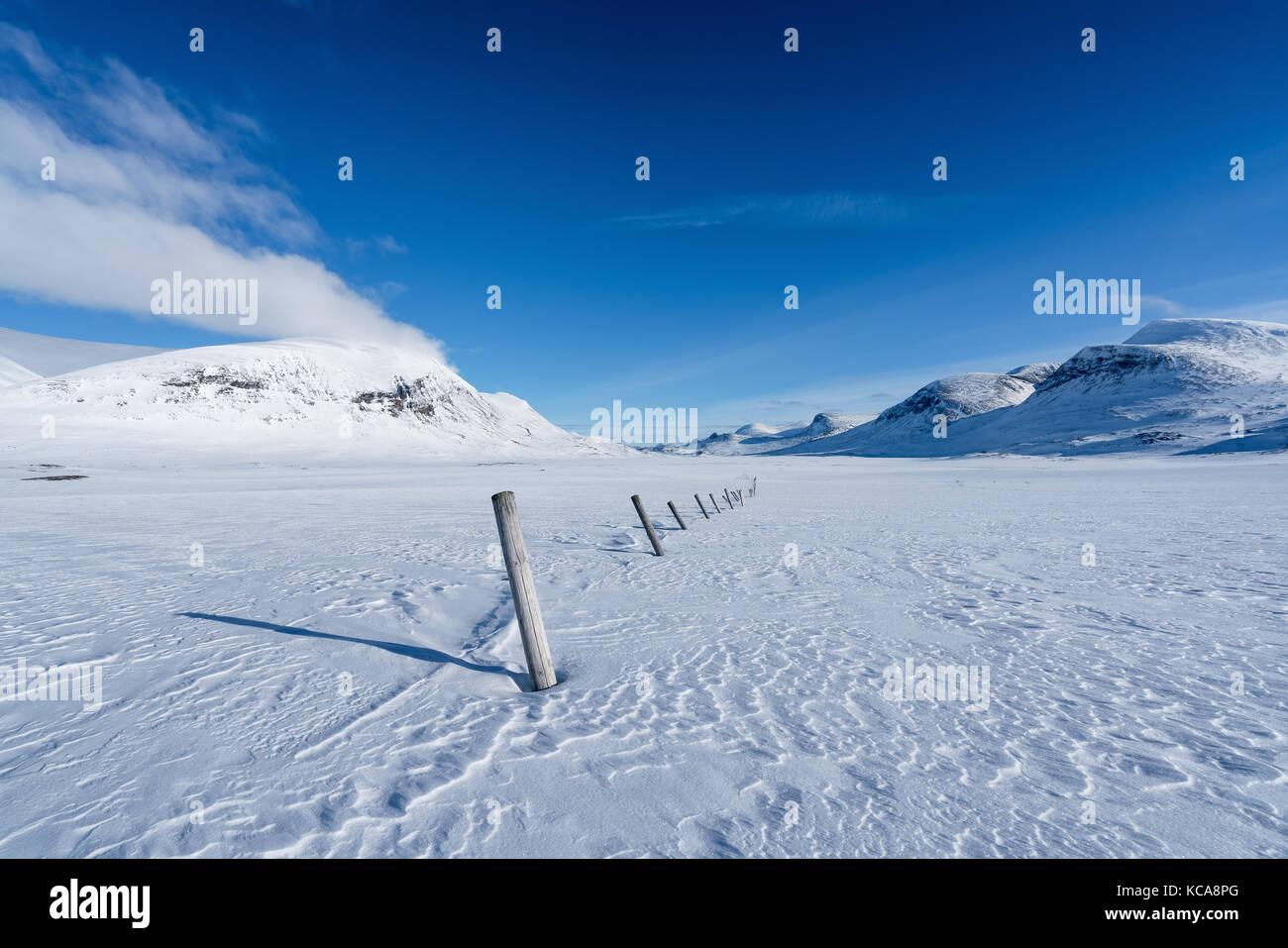 Ski touring in Kebnekaise massive area, Swedish Lapland, Sweden, Europe - Stock Image