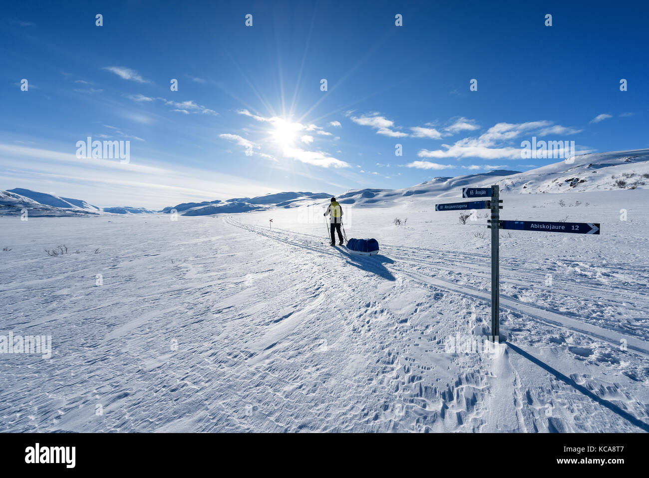 Ski touring in Kebnekaise massive area, Swedish Lapland, Sweden, Europe - Stock Image