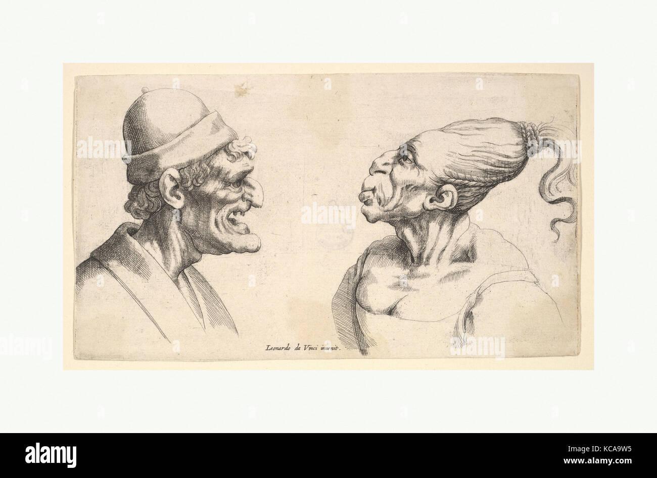 Two deformed heads, After Leonardo da Vinci, 1625–77 - Stock Image