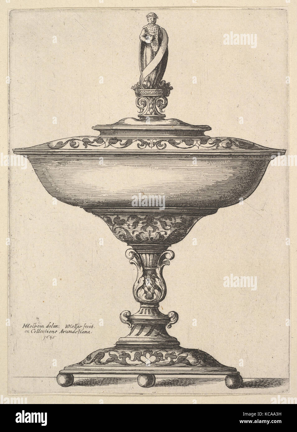 A wide cup with ball feet, 1646, Etching