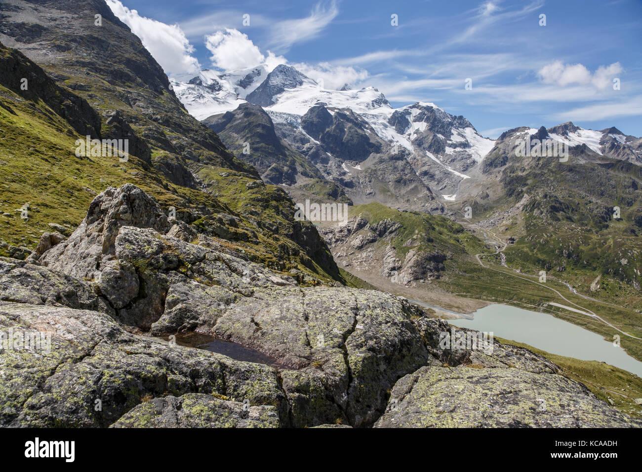 View from the Susten Pass to Sustenhorn and the Stein Glacier, Switzerland - Stock Image
