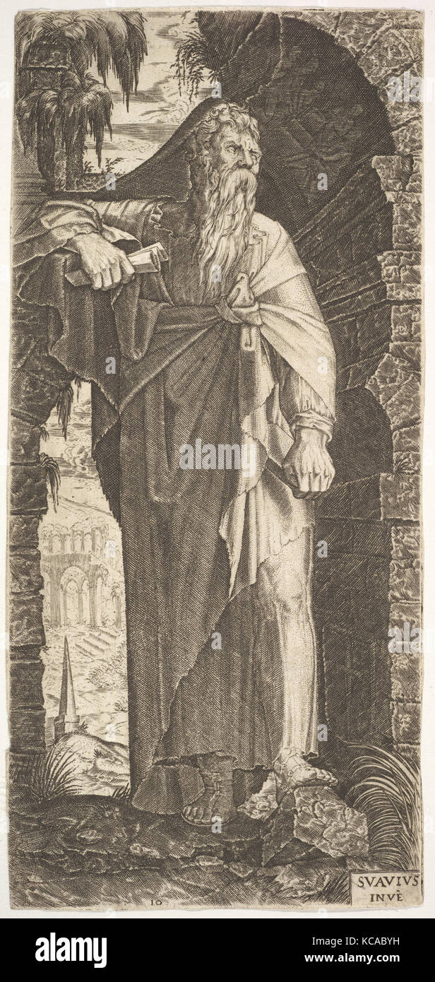St. Paul standing under an overgrown arch, his left foot poised upon a rock, his right hand grasping a scroll - Stock Image