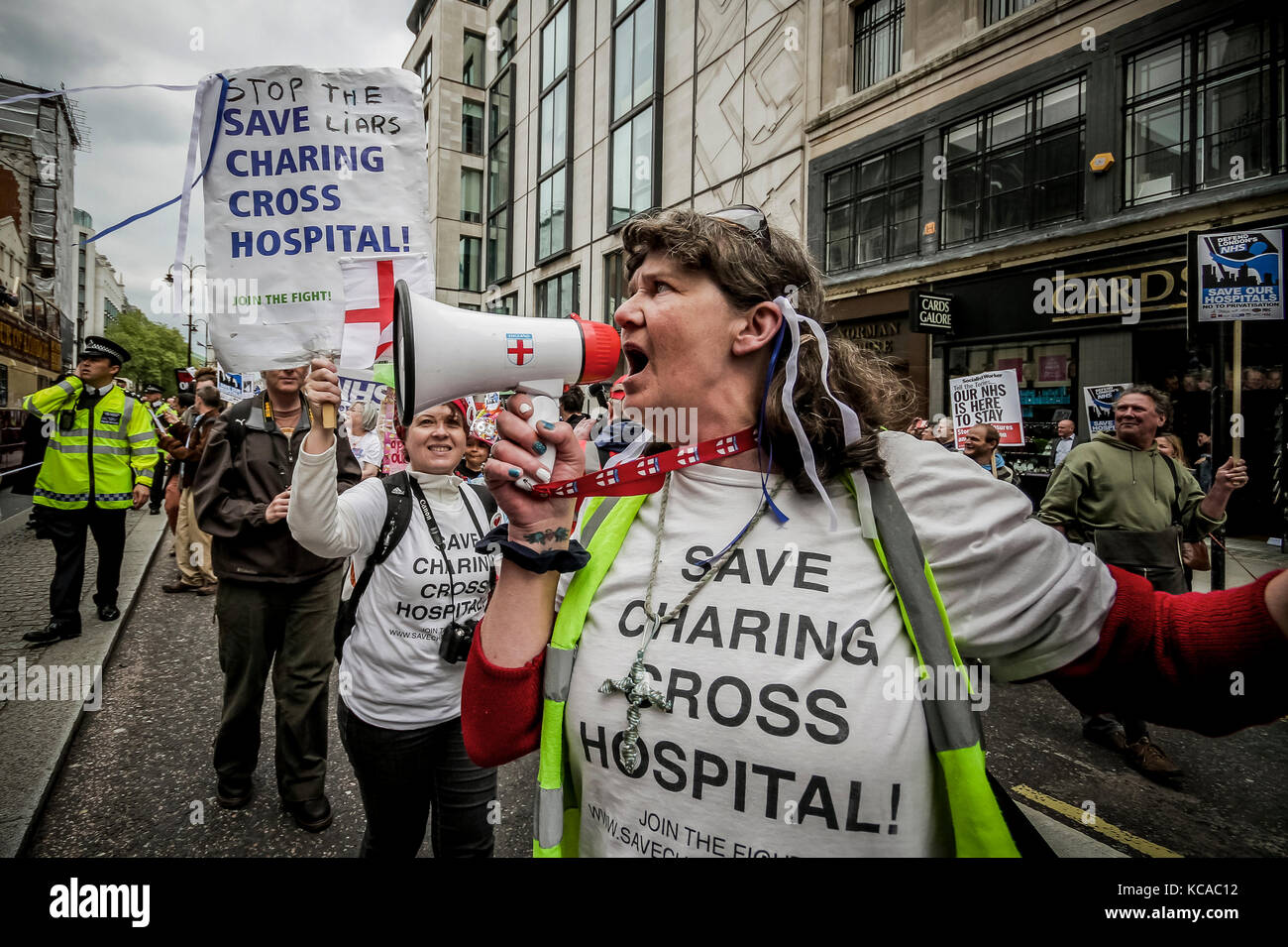 Protesters march and rally over NHS reforms. London, UK. Stock Photo