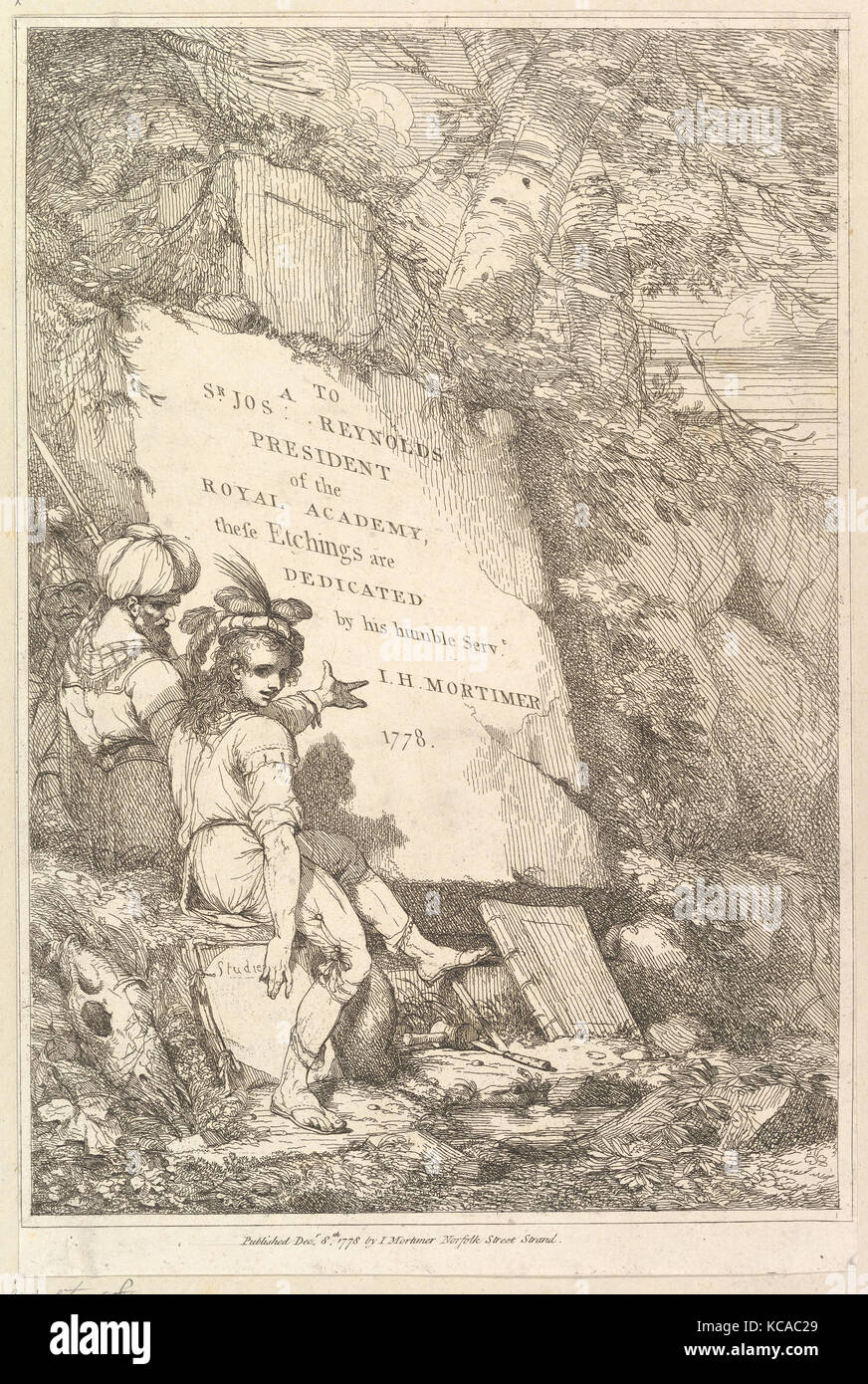 Frontispiece (Fifteen Etchings Dedicated to Sir Joshua Reynolds), 1778 - Stock Image