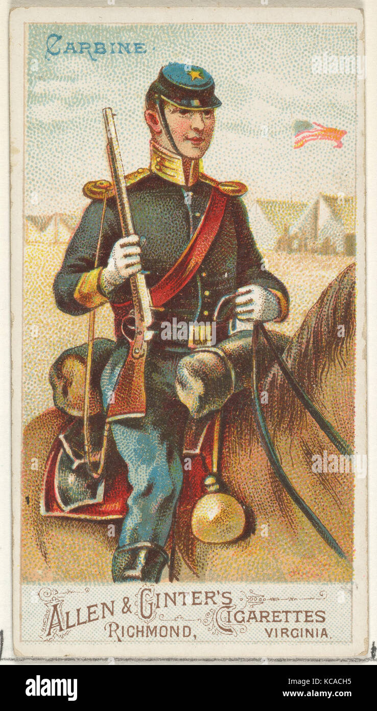 Carbine, from the Arms of All Nations series (N3) for Allen & Ginter Cigarettes Brands, 1887 - Stock Image