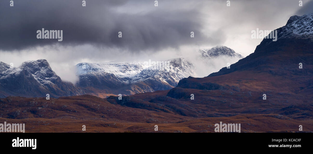 Snow capped mountains in the Scottish Highlands, Scotland, UK. - Stock Image
