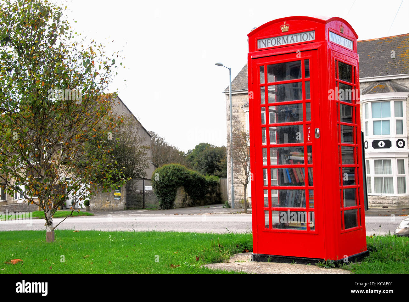 Wakeham, Dorset, UK. 3rd October 2017 - The former GPO telephone kiosk in Wakeham, Isle of Portland, which has been - Stock Image