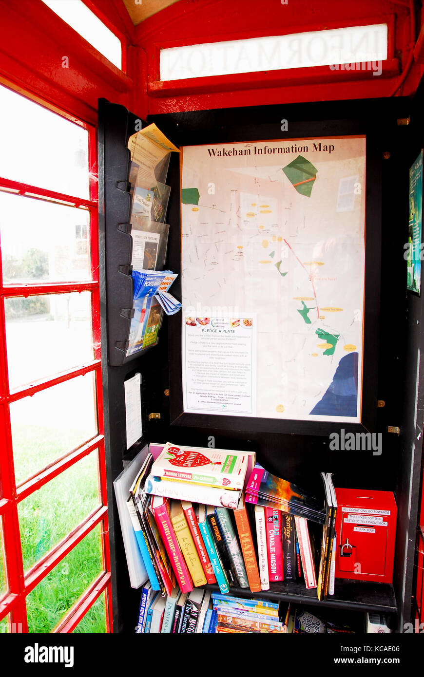 Wakeham, Dorset, UK. 3rd October 2017 - The former GPO telephone kiosk in Wakeham, Isle of Portland, which has been - Stock Image