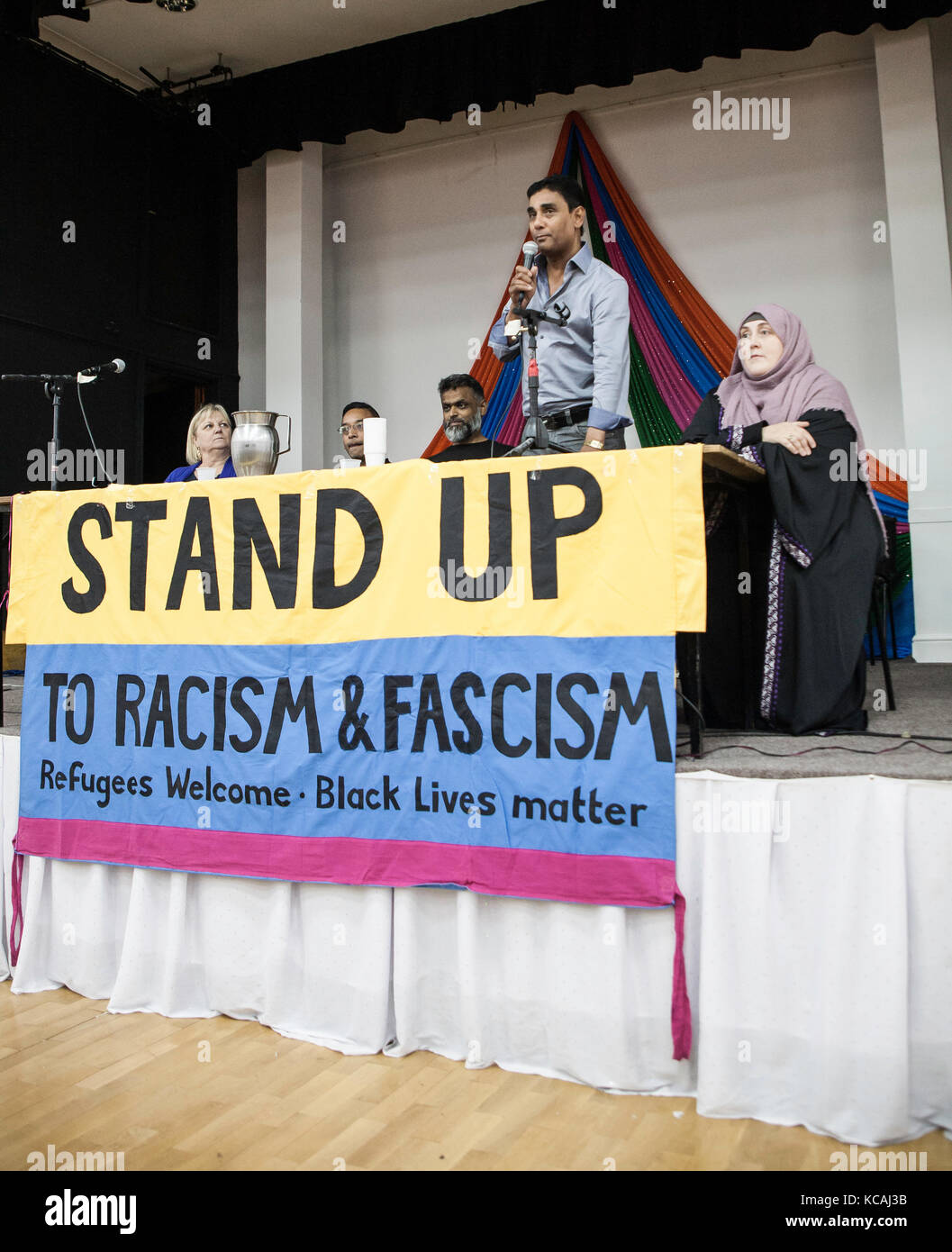 Cardiff, UK. 3rd Oct, 2017. Former Guantanamo Bay detainee Moazzam Begg addresses Stand up to Racism and Fascism - Stock Image