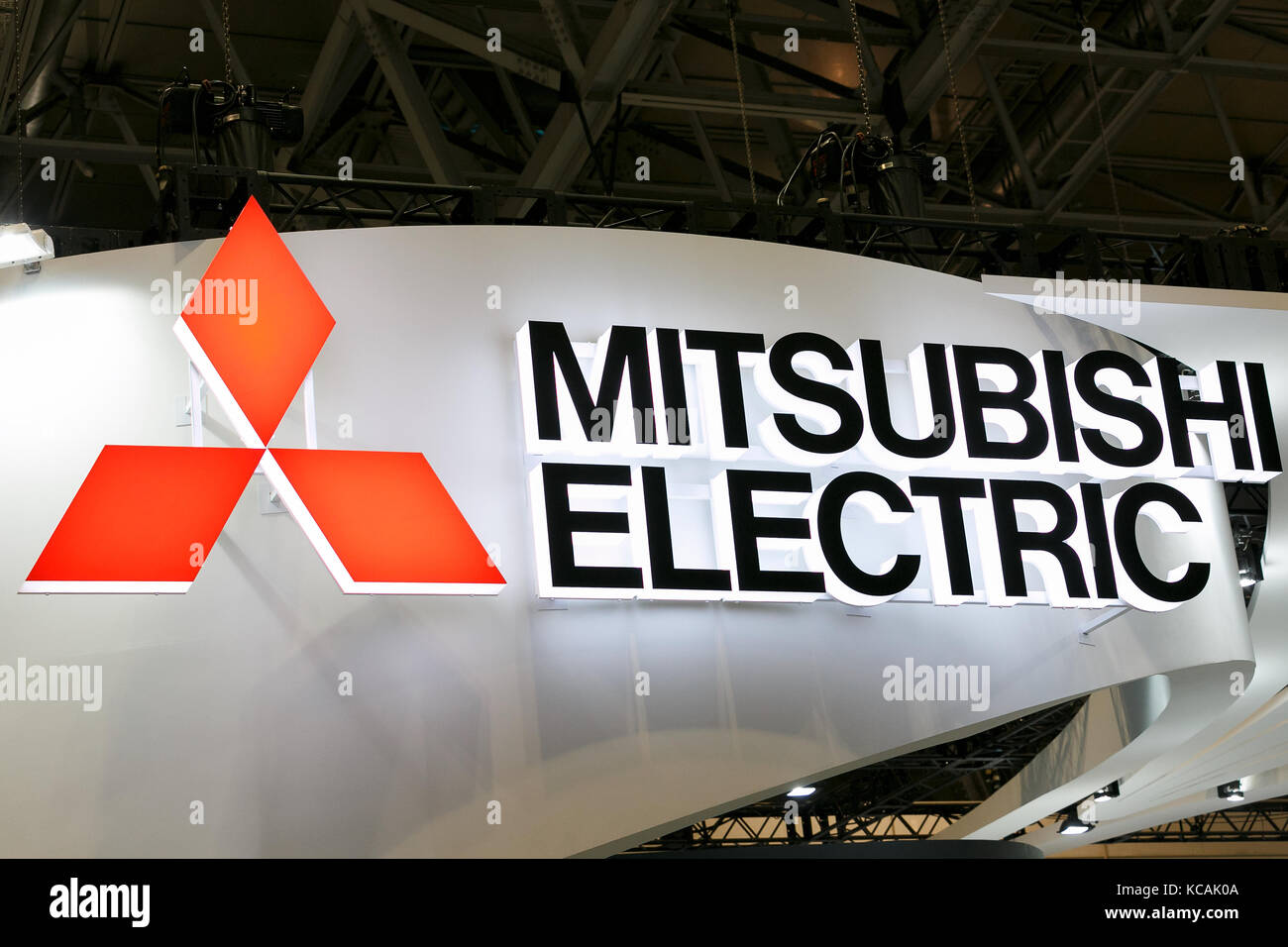 A Logo Of Mitsubishi Electric Company On Display At CEATEC Japan 2017 October 3 Chiba The Combined Exhibition Advanced Technologies