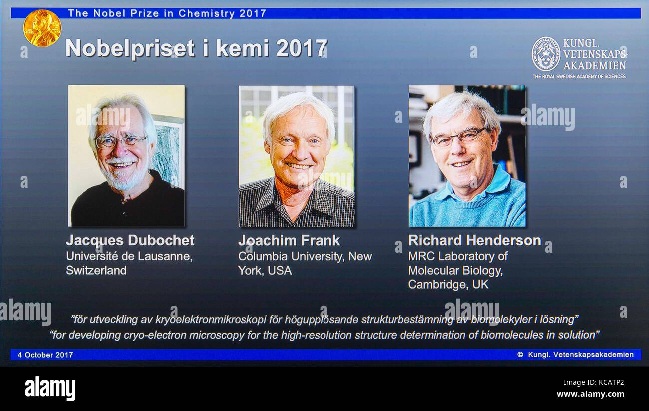 Stockholm, Sweden. 4th Oct, 2017. Winners of the 2017 Nobel Prize in Chemistry Jacques Dubochet, Joachim Frank and - Stock Image
