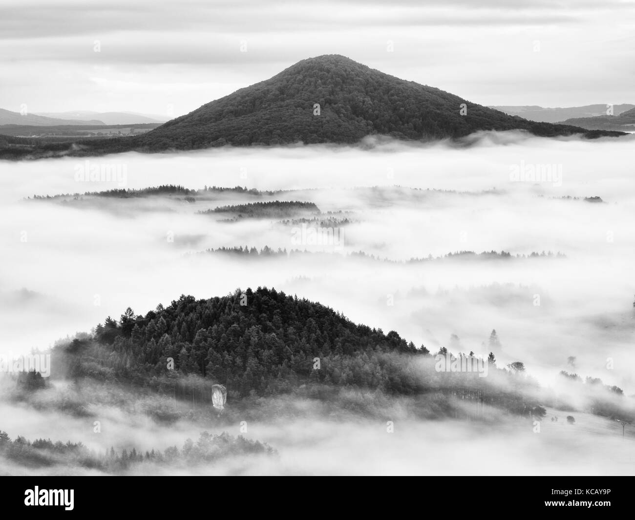Heavy mist in landscape. Magnificent  autumn creamy fog in countryside. Hill increased from fog, the fog. Black - Stock Image