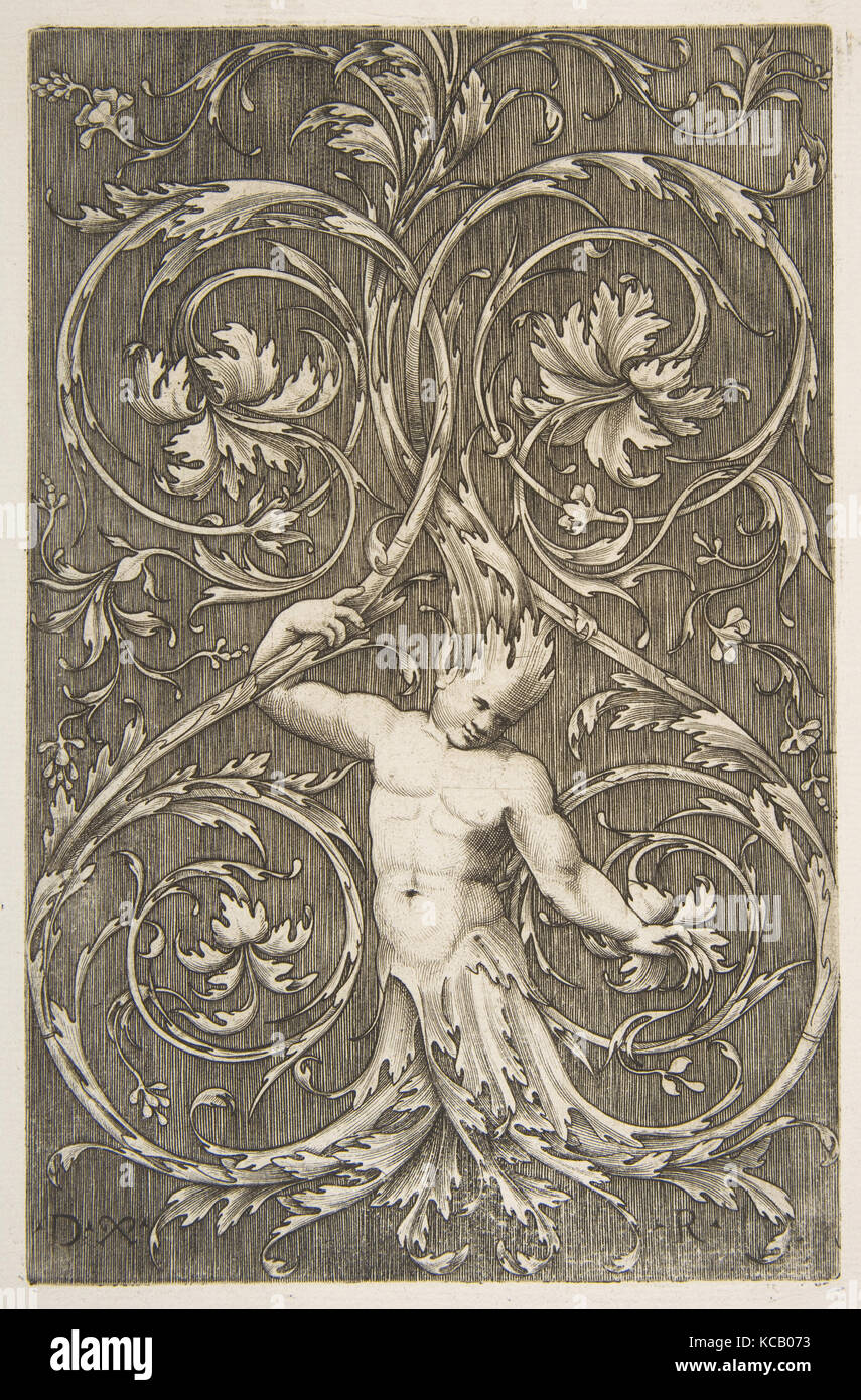 Grotesque with male figure with lower body and head of acanthus scrolls, Marco Dente, ca. 1515–27 - Stock Image