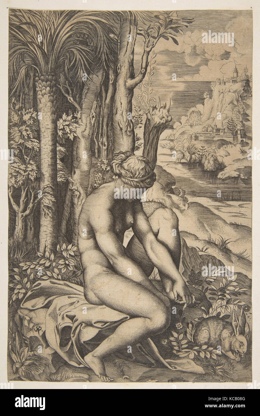 Venus removing a thorn from her left foot while seated on a cloth beside trees and foliage, a hare eating grass - Stock Image