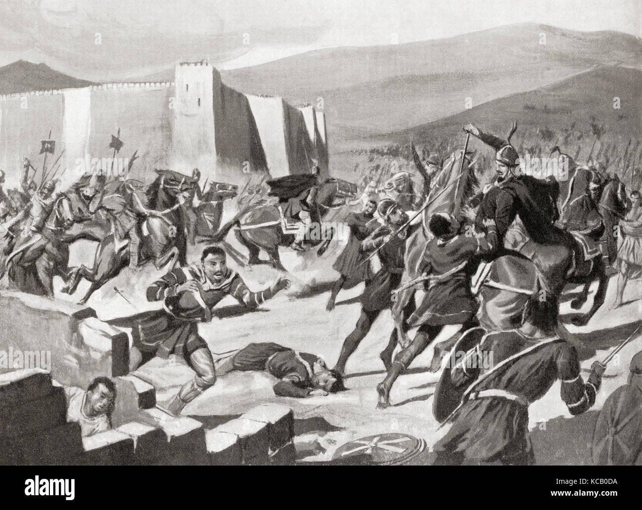 The defeat of the  Kutrigurs  by Belisarius at the battle of Melantias, 559 AD.  Flavius Belisarius  c. 505 – 565. - Stock Image