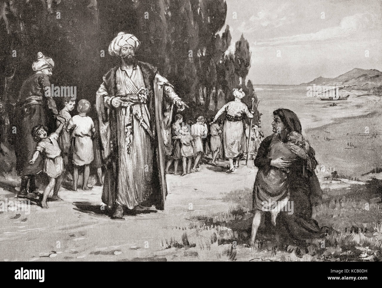 The tribute of children by the Greeks to the Turks.  The Greeks were compelled by the Turks to give up a certain - Stock Image