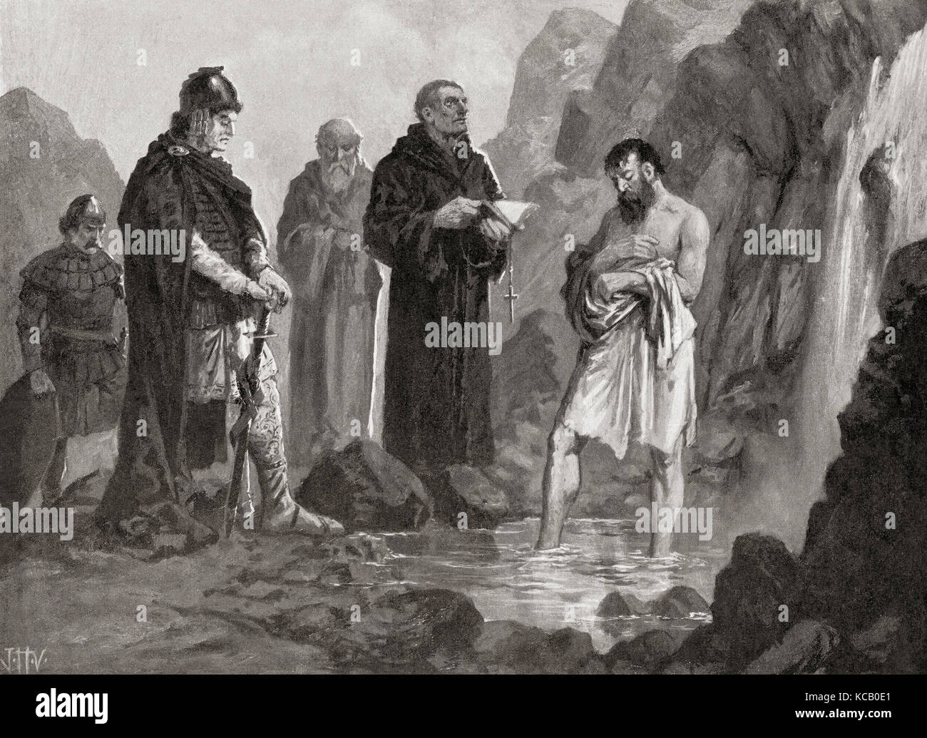 The baptism of Boris I in 864, where he was named Michael after his godfather Emperor Michael III.  Boris I aka - Stock Image
