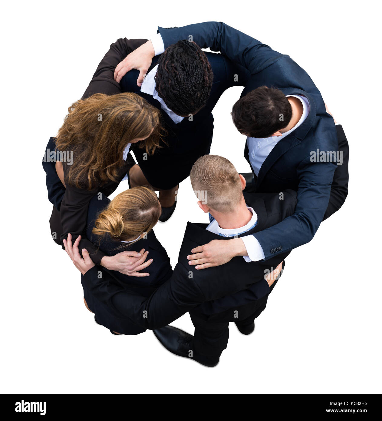 High Angle View Of A Businesspeople Making Huddle On White Background - Stock Image