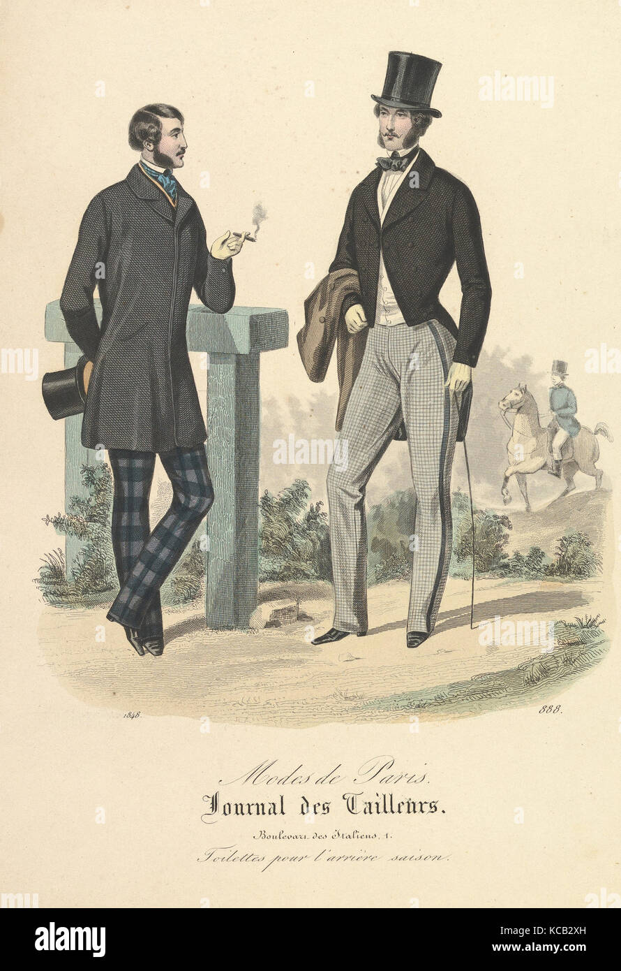 888 from Modes de Paris, Journal des Tailleurs, Anonymous, French, 19th century, 1848 - Stock Image