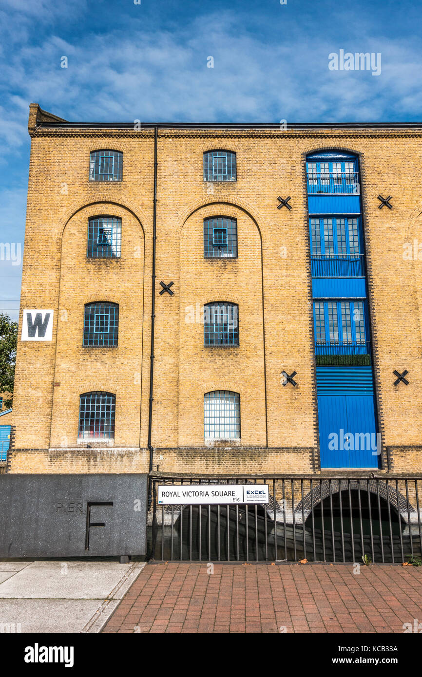 A modern warehouse conversion, serving as business and residential premises - called Warehouse W - in Royal Victoria - Stock Image